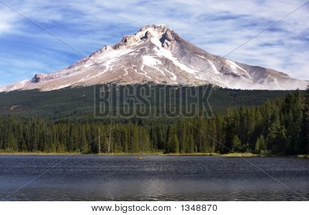 view of mt hood behind timothy lake in oregon poster