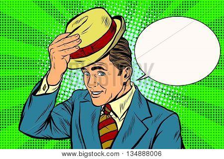 Hello polite gentleman raises his hat pop art retro vector. Etiquette and greeting