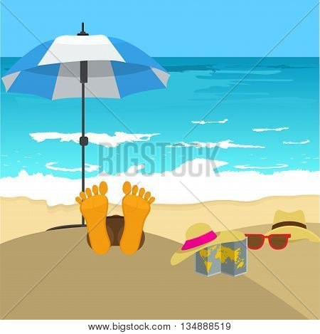 Beach with man's foot and umbrella. Summer vacation concept background with sea sand hat glasses and map. Vector illustration