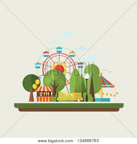 Flat design amusement park in the city. Vector illustration . Elements for infographics .