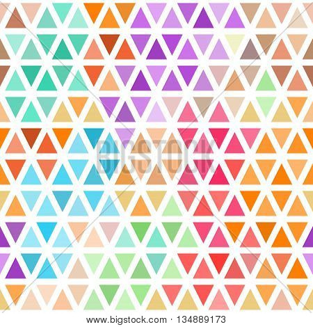 Abstract seamless pattern of bright colored triangles on white . Vector background .