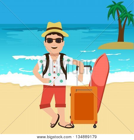 Happy handsome tourist mascot. Creative flat vector illustration. Nice blue sea or ocean with yellow sand with travel bags and palm tree. Surf Traveller with sunglasses and hat