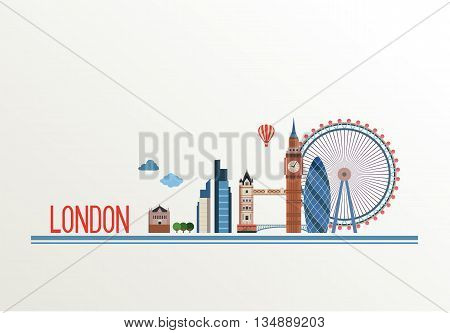 District of London and the Bridge . Vector Cityscape of London