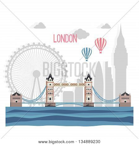 London abstract silhouette on white background. Vector flat illustration .
