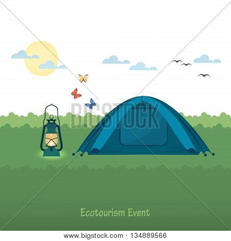 Flat vector illustration with kerosene lantern and tent in the meadow.