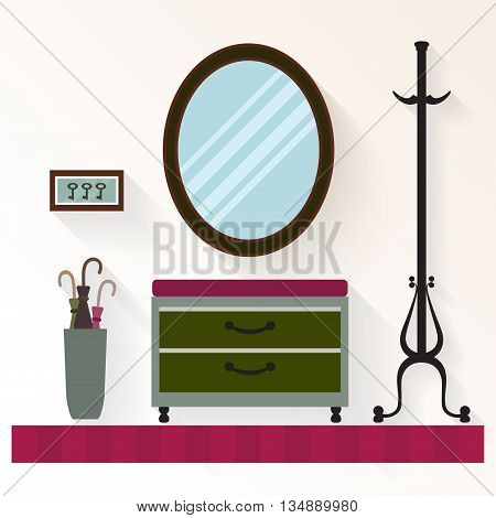 Vector interior hallway with mirror and  commode . Hallway home  interior with furniture.