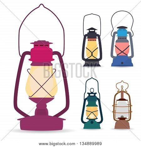 Set of different types of oil lamps in a flat style . Vector illustration .