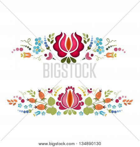 Abstract floral bright composition on white background . Vector background . Floral pattern . Set of two floral borders .