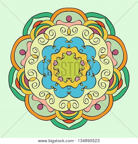 Mandala  round tribal ethnic ornament . Abstract vector background.