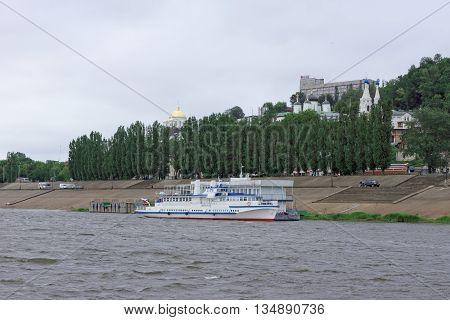 Nizhny Novgorod Russia - June 11.2016. Riverboat Volgar-NN on the river Oka.
