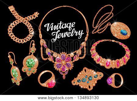 Jewelry. Precious metal, gold silver gems Vector illustration
