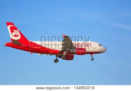 ZURICH - JULY 18: A-320 Air Berlin landing in Zurich airport after intercontinental flight on July 18, 2015 in Zurich, Switzerland. Zurich airport is home for Swiss Air and one of theeuropean hubs.