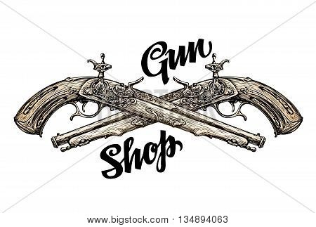 Vintage gun, crossed pistols. Hand-drawn sketch old musket. Vector illustration