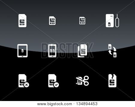 SIM cards mini, micro, nano icons on black background. Vector illustration.