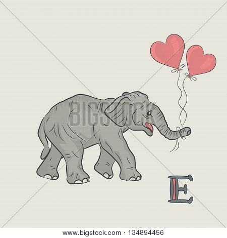 Silhouette of the elephant with hearts . Vector cartoon illustration