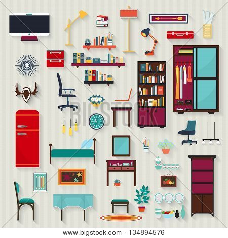 Set of vector rooms furnitures of house . Illustration of flat style.