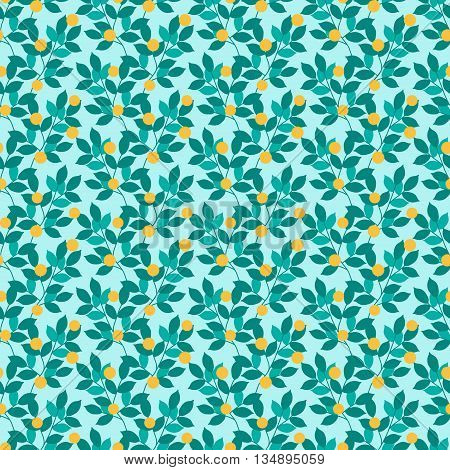 Abstract seamless pattern of leaves and yellow berries.Vector background