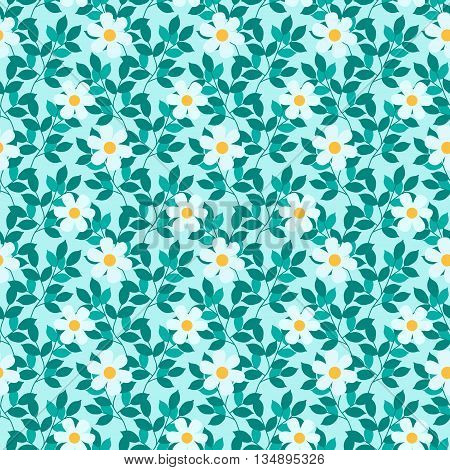 Abstract seamless pattern with leaves and flowers .Vector background
