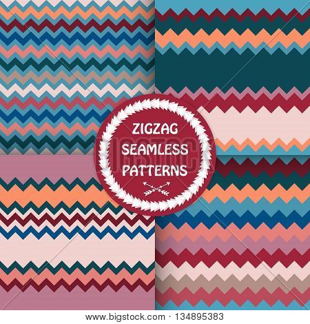 Set of bright zigzag patterns . Seamless backgrounds