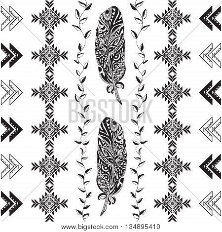 Tribal Pattern Vector Illustration . Seamless Monochrome Background .