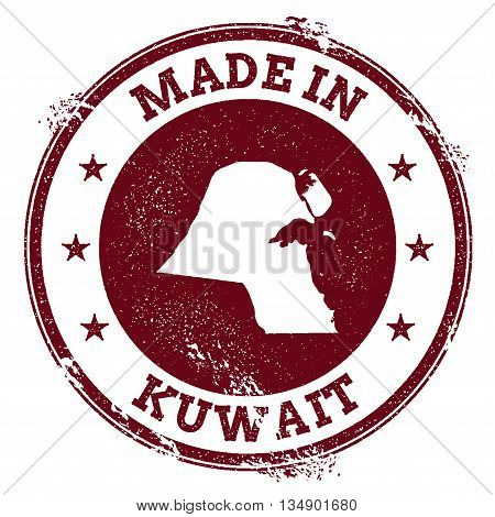 Kuwait Vector Seal. Vintage Country Map Stamp. Grunge Rubber Stamp With Made In Kuwait Text And Map,
