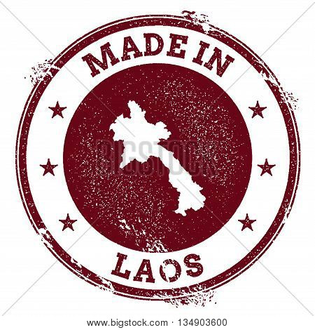 Lao People's Democratic Republic Vector Seal. Vintage Country Map Stamp. Grunge Rubber Stamp With Ma