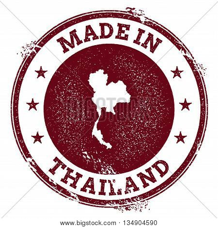 Thailand Vector Seal. Vintage Country Map Stamp. Grunge Rubber Stamp With Made In Thailand Text And