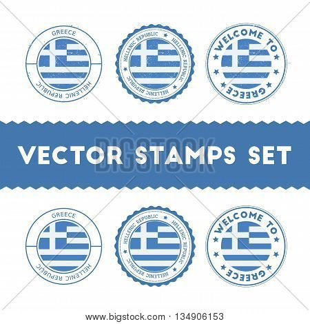 Greek Flag Rubber Stamps Set. National Flags Grunge Stamps. Country Round Badges Collection.