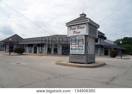 SHOREWOOD, ILLINOIS / UNITED STATES - AUGUST 30, 2015: The Park Place Plaza is one of Shorewood's most popular shopping plazas.