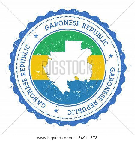 Gabon Map And Flag In Vintage Rubber Stamp Of State Colours. Grungy Travel Stamp With Map And Flag O