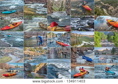 whitewater kayak and packraft  picture collection - paddling on mountain rivers in Colorado featuring the same male paddler