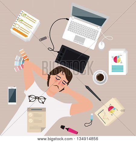 man male designer worker enjoy after work take a rest sleep around laptop vector