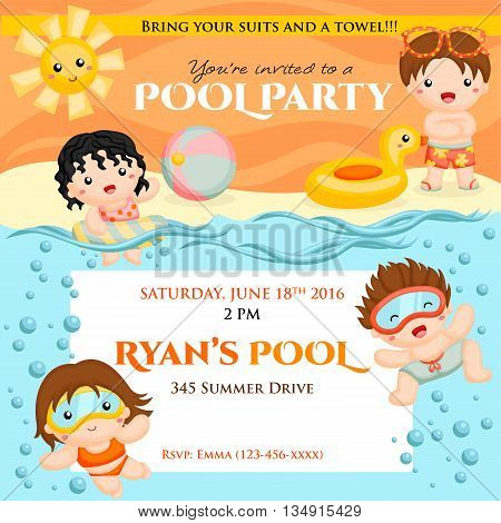 Swim time party birthday invitation for kids