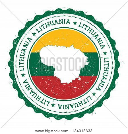 Lithuania Map And Flag In Vintage Rubber Stamp Of State Colours. Grungy Travel Stamp With Map And Fl