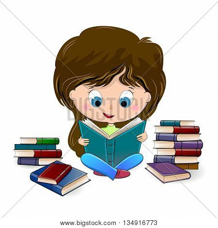 Girl reading a book. Girl sitting among books.