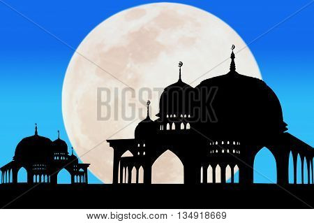Silhouette of Mosque at full moon background