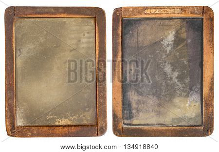 Vintage slake blackboard isolated on white. Two sides of one board.