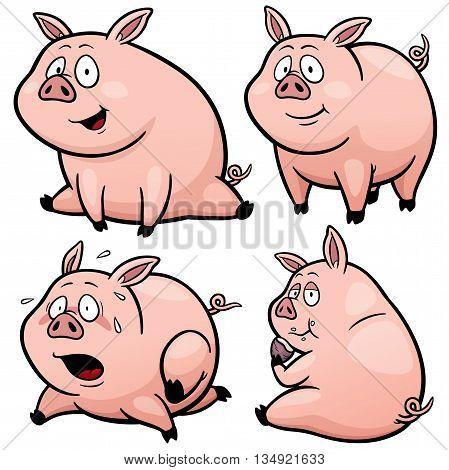 Vector illustration of Cartoon Pig Character Set