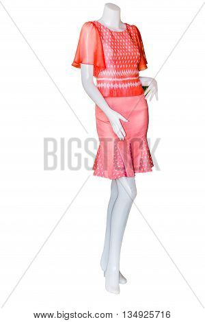 Beautiful Thai dresses on mannequins isolate white background with clippingpath