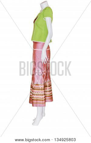 Beautiful Thai dresses on mannequins isolate white background with clippingpath poster