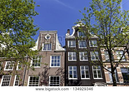 Famous architecture of Amsterdam city centre, Netherlands Europe