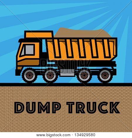 Dump truck on blue background, vector illustration