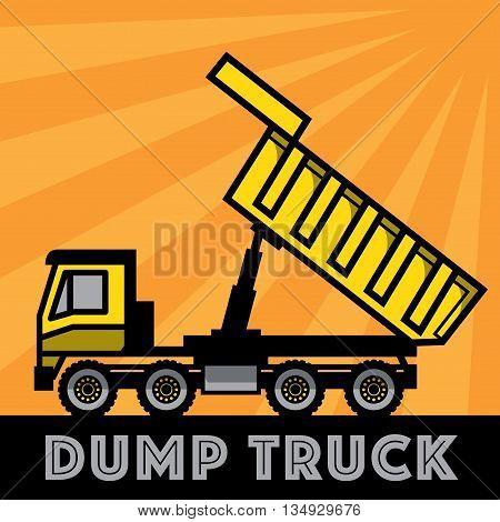 Dump truck on yellow background, vector illustration