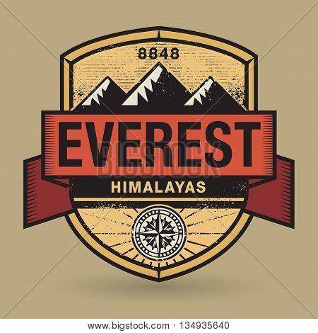 Stamp or vintage emblem with text Everest, Himalayas, vector illustration