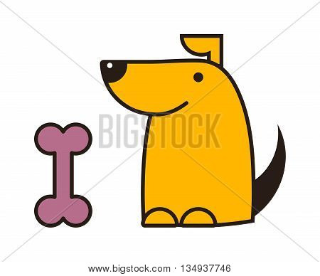 Dog and bone beautiful golden retriever. Dog with rawhide bone mouth snack reward. Dog and bone playful food symbol outline animal character. Domestic mammal purebred diet nutrition.