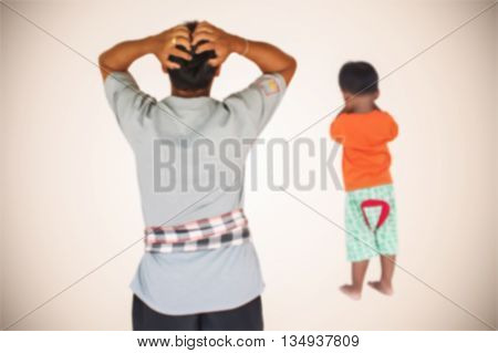 blurry of little asian boy angry his father