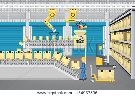 Robot working with production line and worker inside warehouse or factory building.