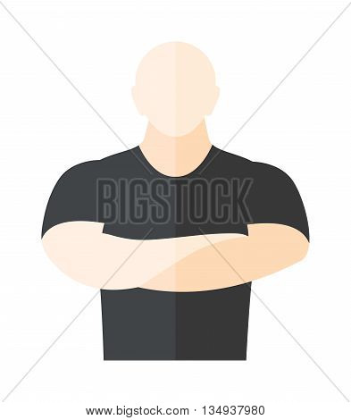 Male security guard standing over white background. Security man protection guard safety male. Vector security man protect uniform adult danger surveillance service character.