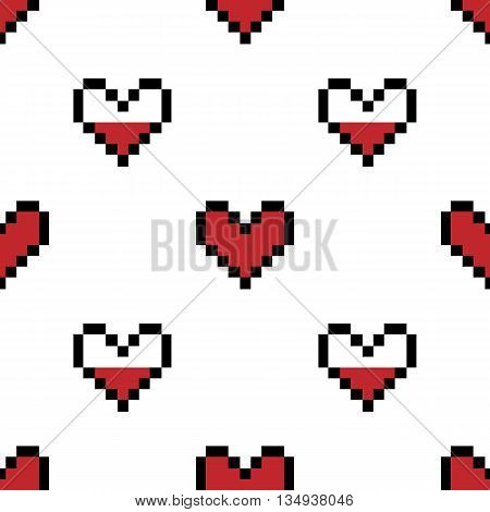 Geek valentine's day pixel hearts seamless pattern background.