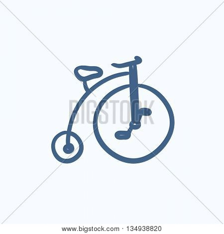 Old bicycle with big wheel vector sketch icon isolated on background. Hand drawn Old bicycle with big wheel icon. Old bicycle with big wheel sketch icon for infographic, website or app.